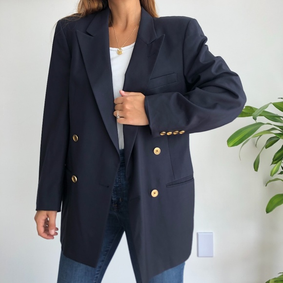 Christian Dior double breasted navy blazer jacket